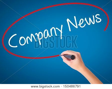 Women Hand Writing Company News With Black Marker On Visual Screen