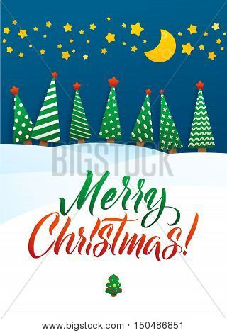 Christmas Greeting Card. Merry Christmas lettering, vector illustration. Volume toys, Christmas trees and snowdrifts. Christmas decorations, greeting illustration.