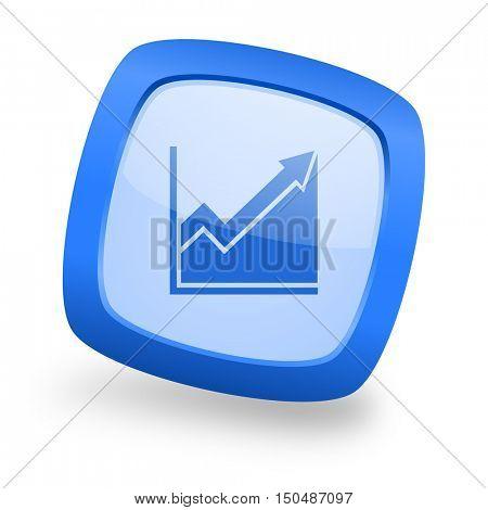 histogram blue glossy web design icon