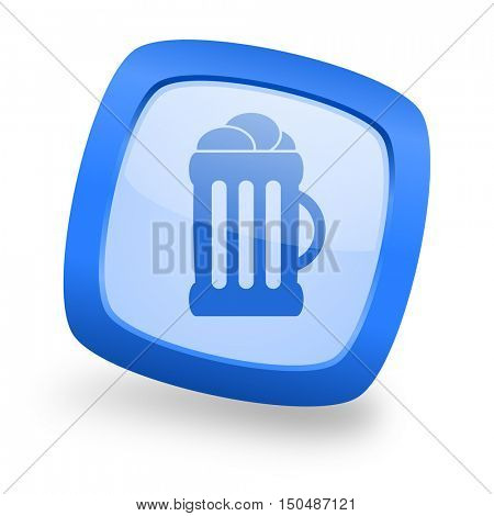 beer blue glossy web design icon