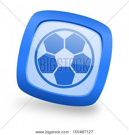 soccer blue glossy web design icon