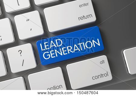 Lead Generation Concept Laptop Keyboard with Lead Generation on Blue Enter Button Background, Selected Focus. 3D Render.
