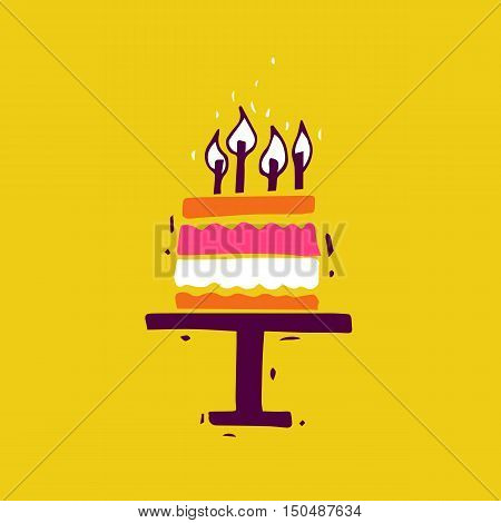 Happy Birthday. Cake. Card, invitation. Hand-drawn, lino-cut. Flat design vector illustration.
