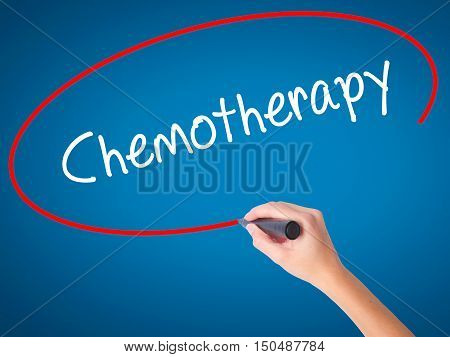 Women Hand Writing Chemotherapy With Black Marker On Visual Screen