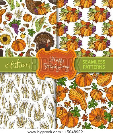 Vector Set Of Seamless Thanksgiving Patterns.