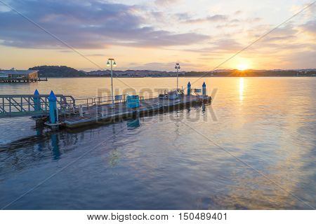 Jetty at sunset, Seascape in Yokohama, Japan