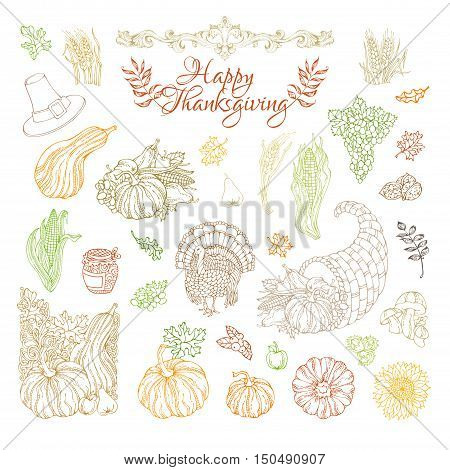 Vector Set Of Outlined Thanksgiving Design Elements.