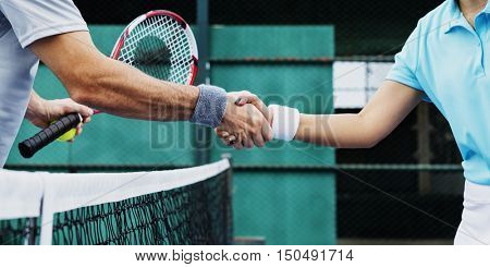 Handshake Athlete Coaching Trainer Exercise Concept