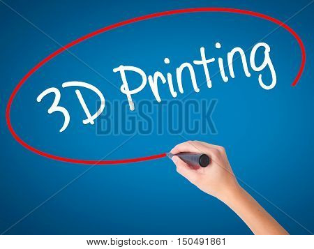 Women Hand Writing 3D Printing With Black Marker On Visual Screen.
