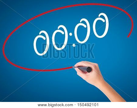 Women Hand Writing 00:00  With Black Marker On Visual Screen