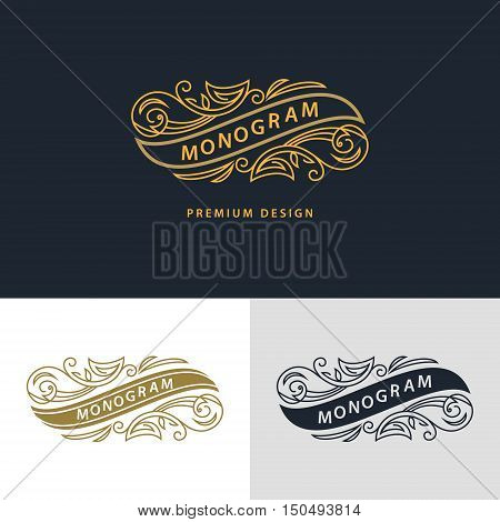 Monogram design elements graceful template. Calligraphic elegant line art logo design. Frame emblem sign for Royalty business card Boutique Hotel Heraldic Wine Jewelry. Vector illustration
