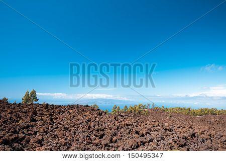 petrified lava flows of Teide volcano Roques de Garcia Teide National park Tenerife Canary islands Spain