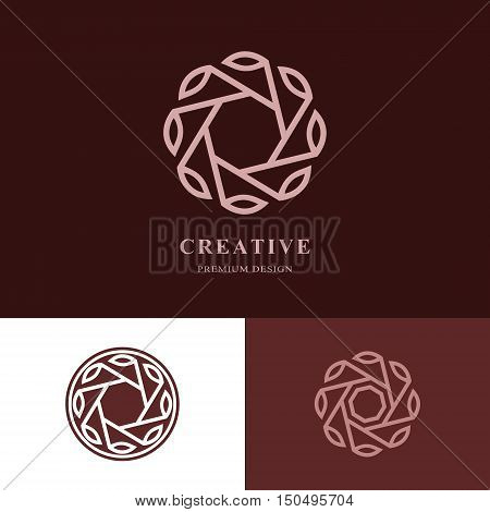 Creative logo design templates. Abstract design monogram with leaves. Business emblem for holistic medicine centers yoga classes natural and organic food products and packaging. Vector illustration