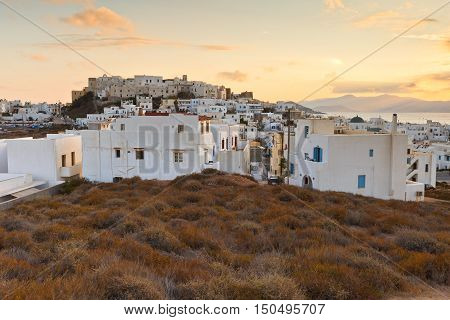 View of the castle in town of Naxos.