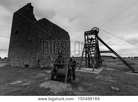 Disused machinery and building at Magpie Mine in the Peak District