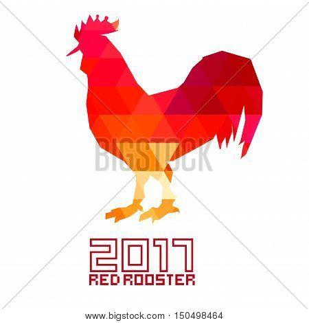 Red Rooster 2017 . Rooster, cock, Chinese zodiac illustration. Logo, emblem, symbol designs bundle Rooster zodiac emblem