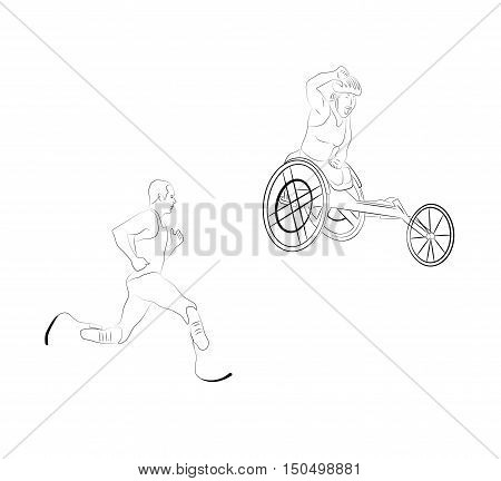 athletes with disabilities . vector illustration .