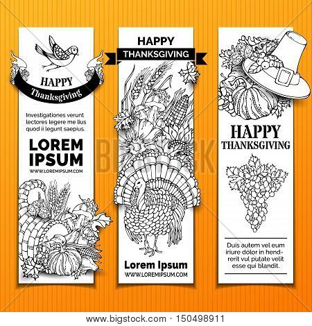 Vector Paper Thanksgiving Vertical Banners Set.