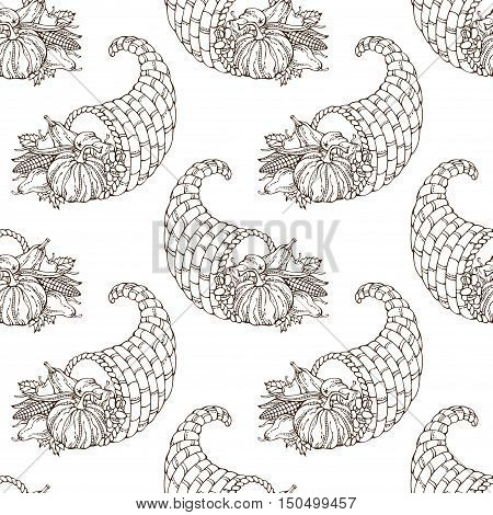 Vector Seamless Hand-drawn Thanksgiving Pattern.