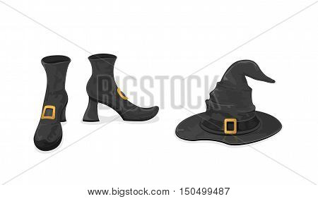 Halloween theme, black witches shoes and hat with golden buckle, isolated on white background, illustration.