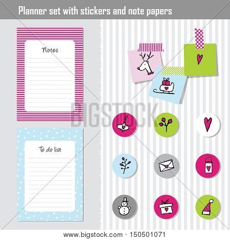 Planner set. Note paper, Notes, to do list. Organizer planner template. Note paper. Set of New year and Christmas stickers.