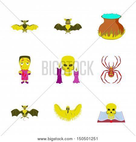 assembly of flat illustration book skull ghost bat spider zombie men cauldron
