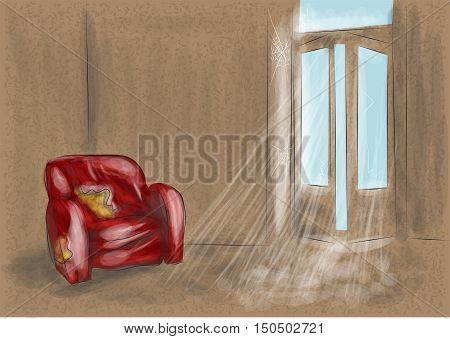 abandoned room with red sofa. 10 EPS. Vector.