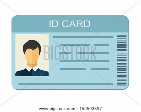 ID Card isolated on white background. Identification card icon. Business identity ID card icon template badge. Identification personal contact in flat style poster