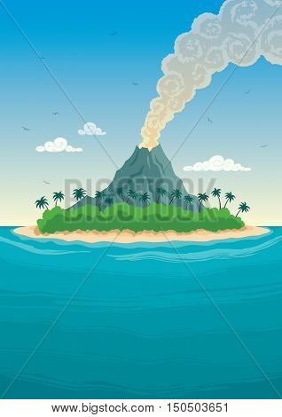 Small tropical island with a smoking volcano.