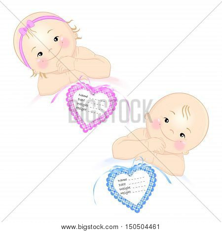 Newborn girl and boy with labels for identification of date, weight, height and name each is isolated
