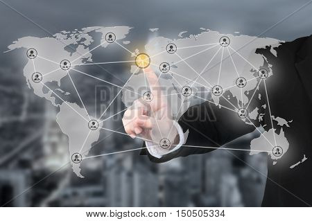 Businessman pressing modern social partnership network connectionbuttons on a virtual background. Partnership network connection