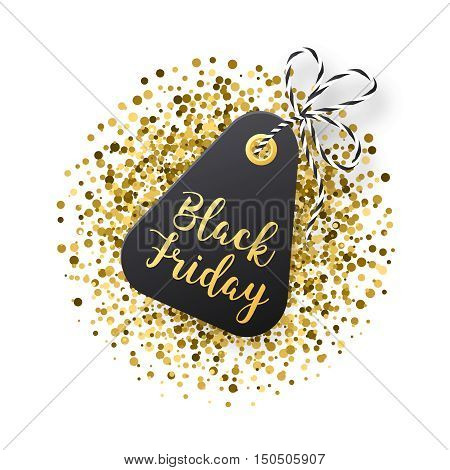 Black Friday sales tag. Black tag with golden glitter isolated on white backround. Vector illustration