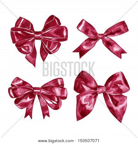 set of watercolor drawing maroon burgundy vinous bows with paint stains, hand drawn illustration