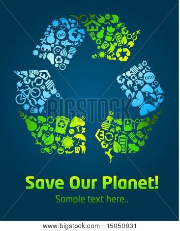 Save our planet eco icon poster template 2