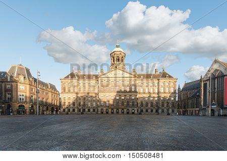 Royal Palace at the Dam Square in Amsterdam Netherlands. No people in Dam Square in Amsterdam Netherlands.