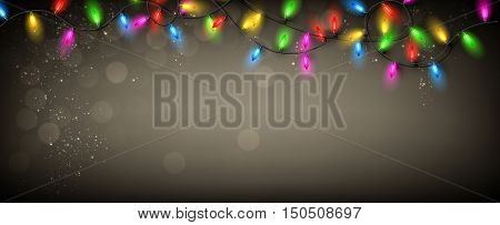 Gray banner with color Christmas garland of lights. Vector illustration.