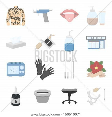 Tattoo studio set icons. Vector collection of tattoo master icon. Symbol of piercing, tattoo machine and another tattoo tools - stock vector.