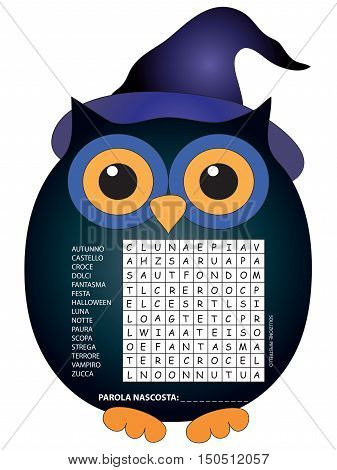 game for children: crossword for halloween in italian