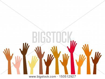Hands up of different races colors nationalities. Vector isolated hand silhouette on white background. Diverse ethnicity hands raised. Asian arab african american europian hands and palms.