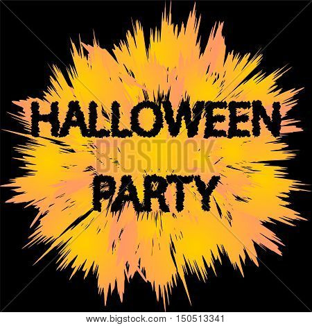 Halloween Party. Curved Letters on Orange Round with Ragged Corners. Vector Illustration.