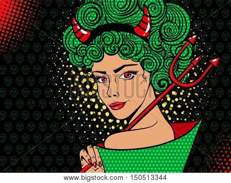 Sexy Devil Smiling Woman With Red Eyes, Green Curly Hair, Red Horns And Trident. Vector Background I