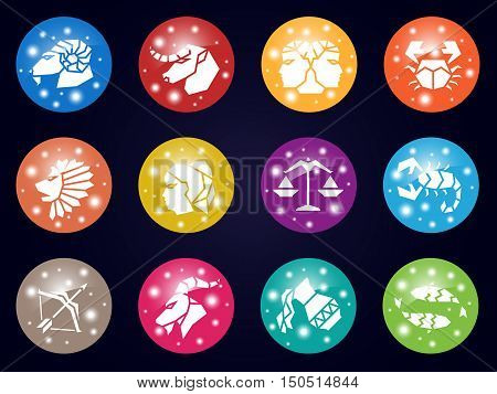 zodiac horoscope and light star sign icon on circle vector illustration set design