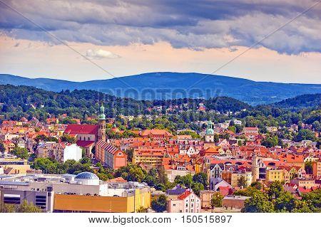 City view of Jelenia Gora Lower Silesia Poland in foothills of Karkonosze Mountains on sunny day.