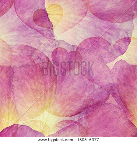 Bright seamless colorful pattern for scrapbook. Collage with hand made watercolor blots hearts rose petals. Batik style background backdrop