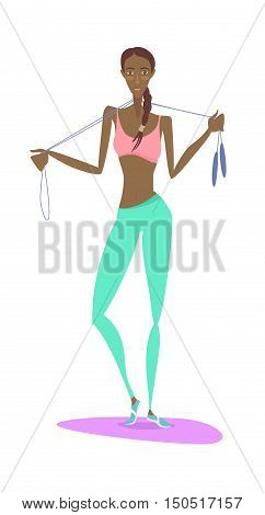 Beautiful African American Young Woman Standing Holding Skipping Rope Wearing Sport Clothing Bra Ans