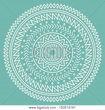 Ethnic mandala. Tribal hand drawn line geometric seamless pattern. Border. Doodles. Native vector illustration. Background. African mexican indian oriental ornament. Henna tattoo style. Circle