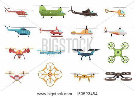 Colored icons set of military and civilian helicopters and various modifications of drone on white background isolated vector illustration