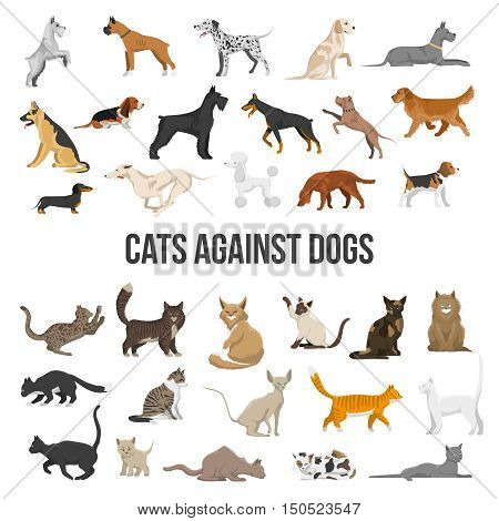Colored icons set of different breeds of dogs and cats on white background isolated vector illustration