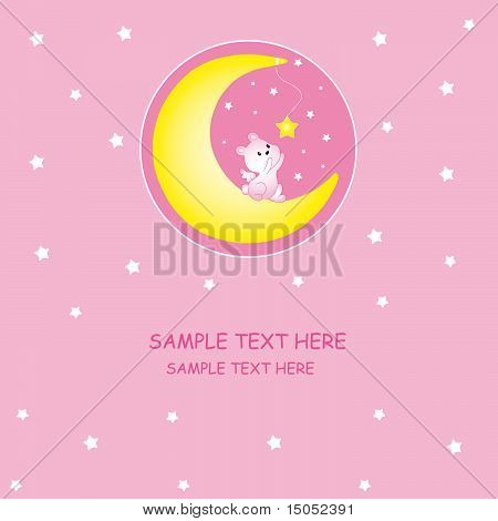 playing on the moon rabbit. Baby girl arrival announcement card poster