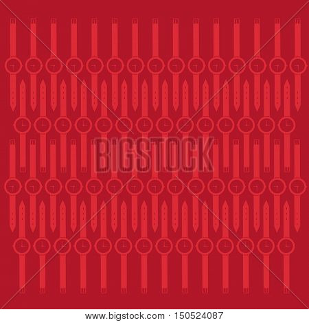 Abstract Whist Watch Contour Over Red Background Vector Illustration